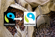 Labels Fairtrade et FSP de Max Havelaar Sacs de fèves de cacao