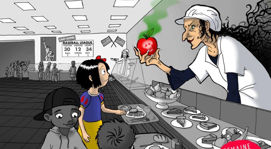 Jeune fille choisissant une pomme rouge à la cantine