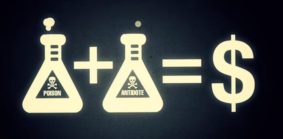 illustrations poison + antidote = dollars