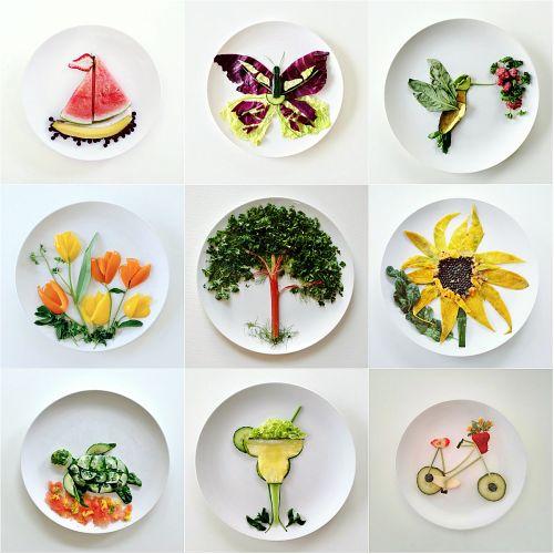 mosaïques d'assiettes dans lesquels les végétaux peignent des tableaux