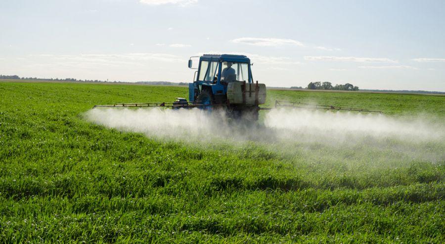 Pulvérisation de pesticides par un tracteur dans un champ