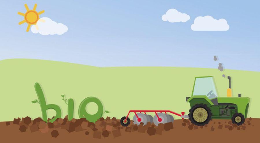 Illustration d'un tracteur bio dans un champ au soleil