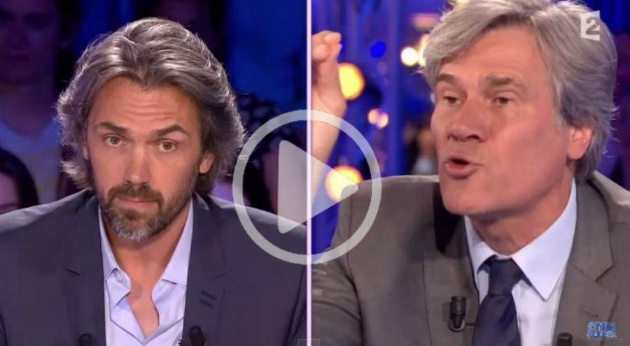 Stéphane Le Foll et Aymeric Caron sur le plateau de l'émission On n'est pas couché
