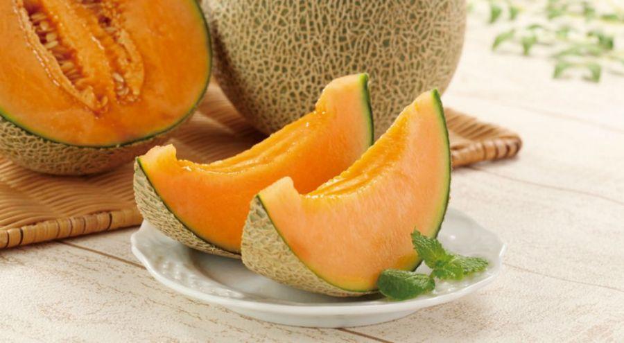 Morceaux de melon dans une assiette