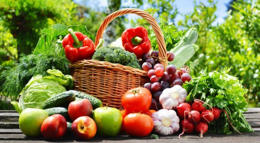 Panier de fruits et légumes en plein air