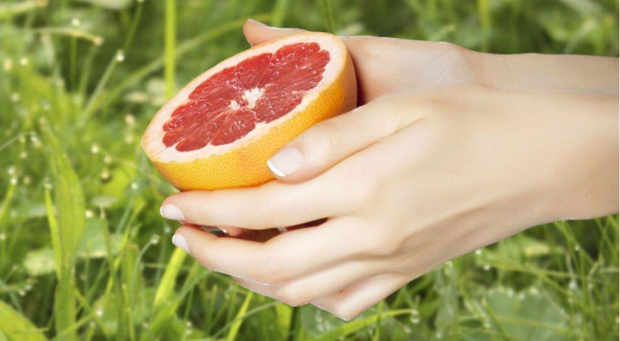mains de femme qui tient un demi pamplemousse au dessus de l'herbe
