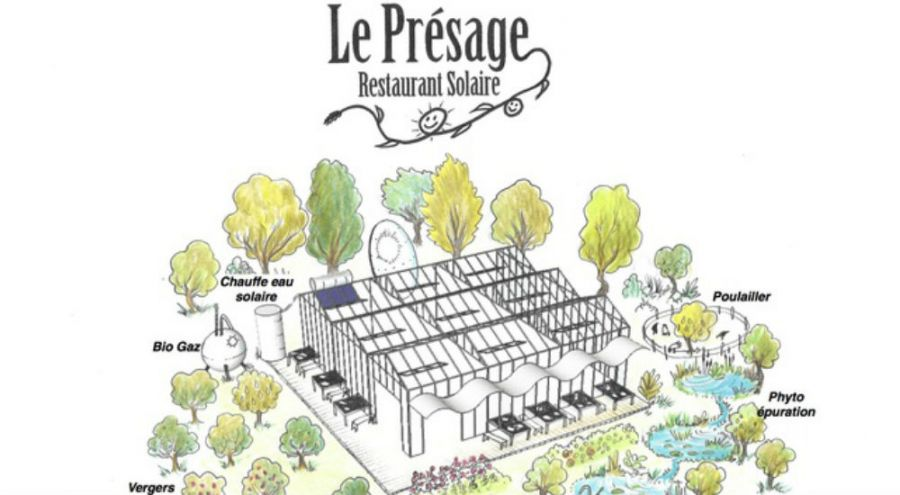 Dessin représentant le futur restaurant solaire le Présage à Aubagne