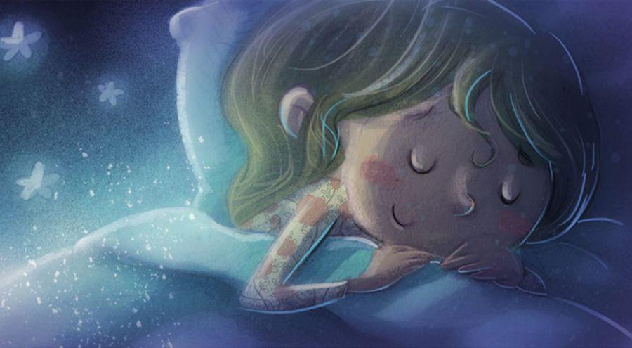 Illustration d'une jeune fille dormant au pays des rêves