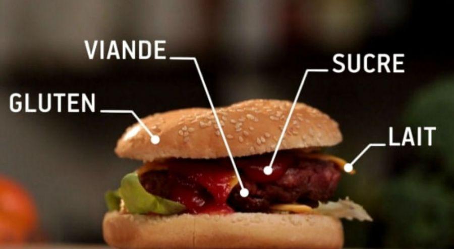 un hamburger sans gluten, sans lait, sans sucre