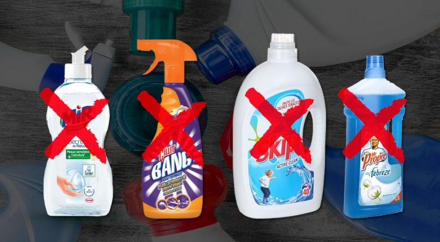 produits ménagers: lessive, produit vaisselle, spray multi-usage