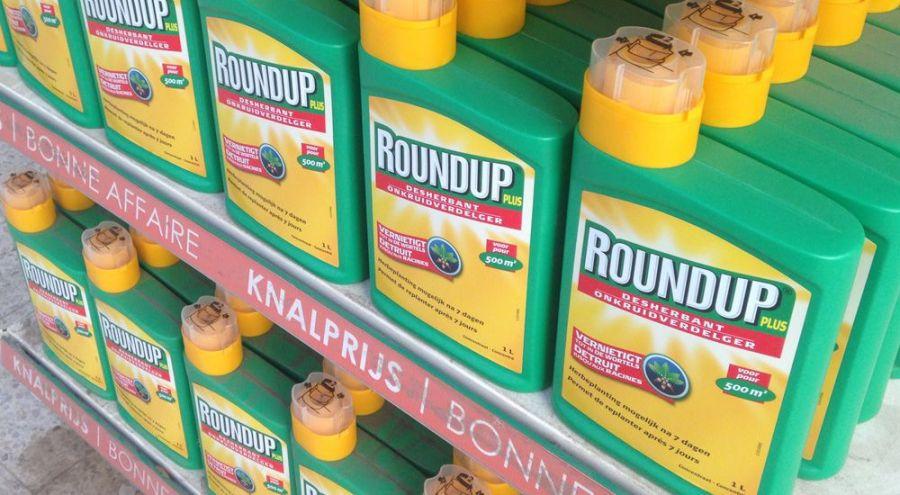 Bouteilles de Roundup sur un étalage de supermarché