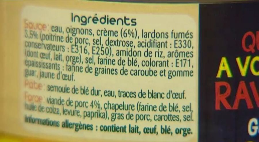 Liste des ingrédients dans un produit industriel