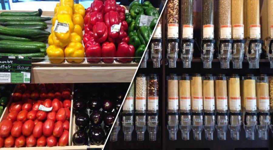 Des fruits mis à disposition et des produits en vrac