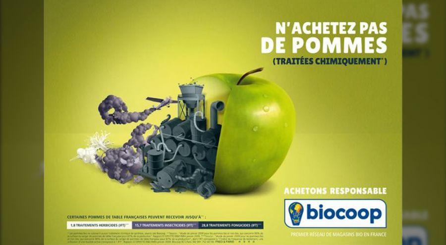Pomme découpée montrant des intestins industriels