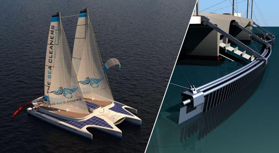 Images de synthèse du quadramaran The Sea Cleaners