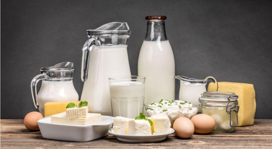 des produits laitiers, yaourts, fromage, lait sur une table
