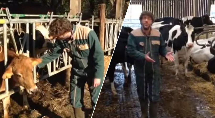 Antoine Thibault expliquant le bien-être animal dans sa ferme laitière