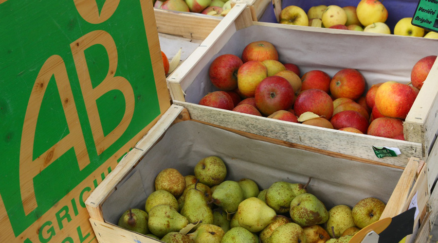 Poire et pomme bio sur une étale