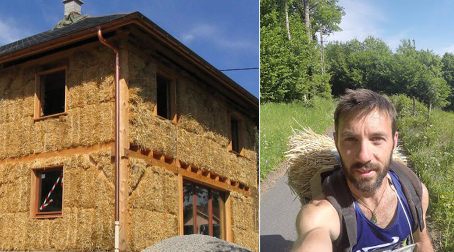 Cet homme parcourt 1600 km à pied pour promouvoir les maisons en paille