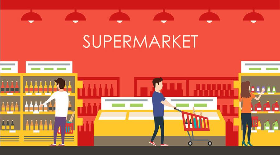 Illustration d'une coupe dans un supermarché classique