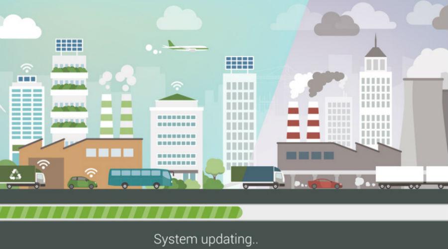 dessin espace vert et ville polluée
