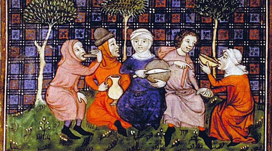 Scène de repas au Moyen Âge avec la répartition des aliments