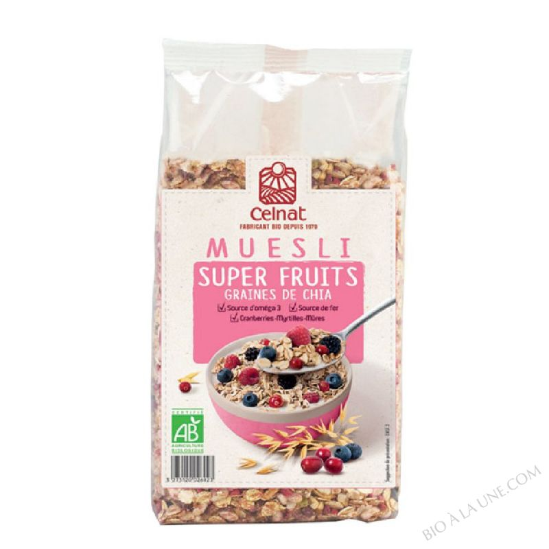 MUESLI SUPERFRUIT GRAINES DE CHIA - CRANBERRIES, MYRTILLES ET MÛRES - 375G
