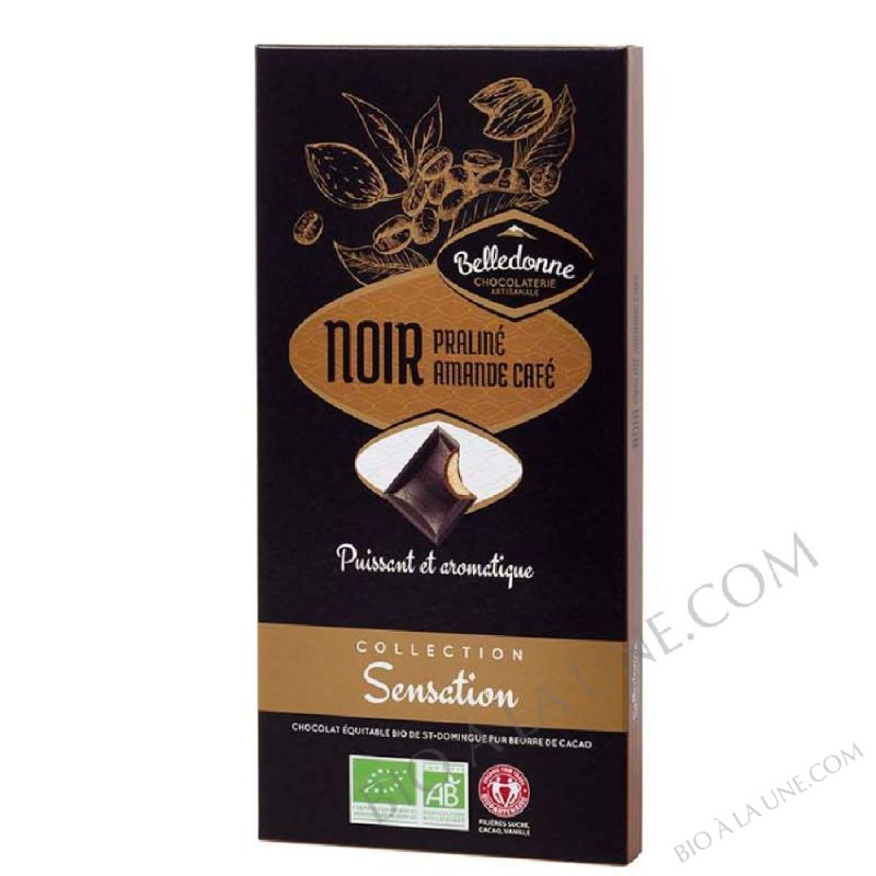 TABLETTE NOIR 57% FOURRÉE PRALINÉ AMANDE CAFÉ  COLLECTION