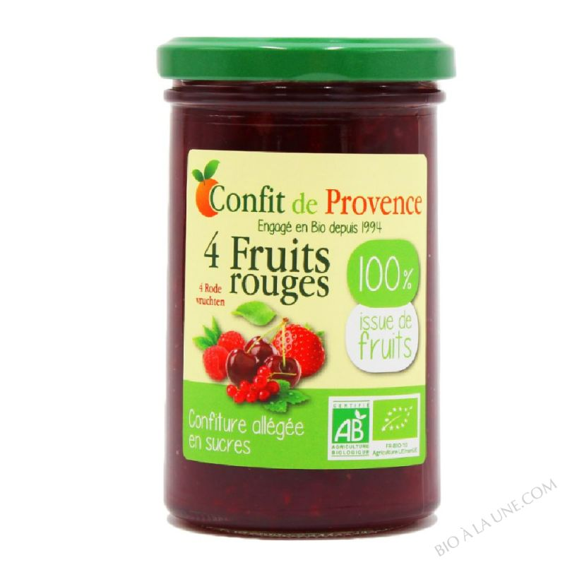 Confiture allégée en sucres BIO 100% issues de fruits - 4 FRUITS ROUGES
