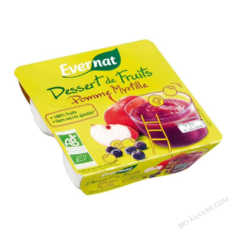 Dessert de Fruits Pomme Myrtille 4x100g
