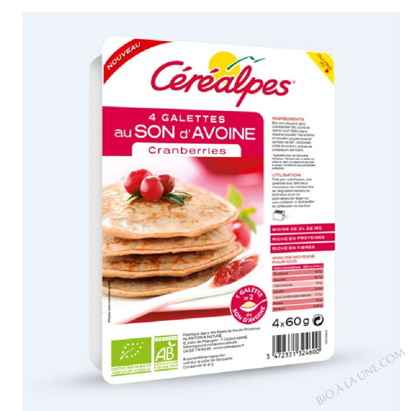 GALETTES AU SON D'AVOINE CRANBERRIES - 4 X 60 G