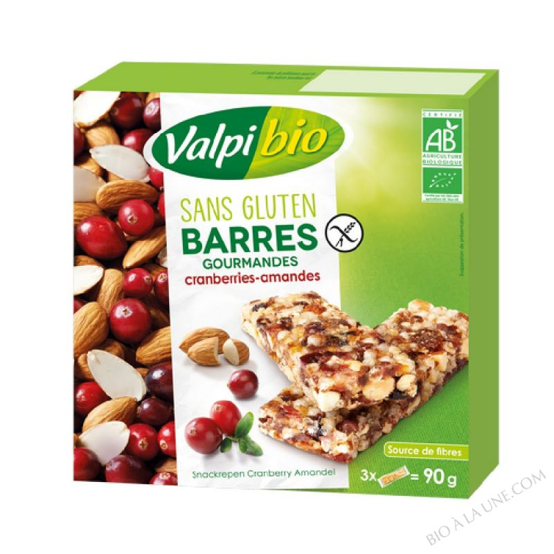 Barres Cranberries Amandes Bio 90g