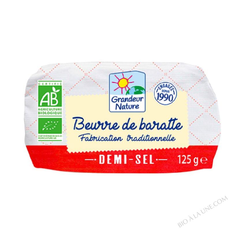 Beurre de baratte biologique demi sel au sel de gu rande 125 g grandeur nature bio la une - Beurre demi sel maison ...