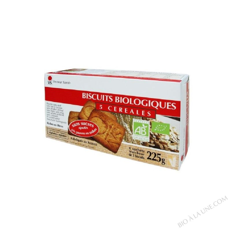 BISCUITS 5 CEREALES SS SUCRE/SEL BIO 225G