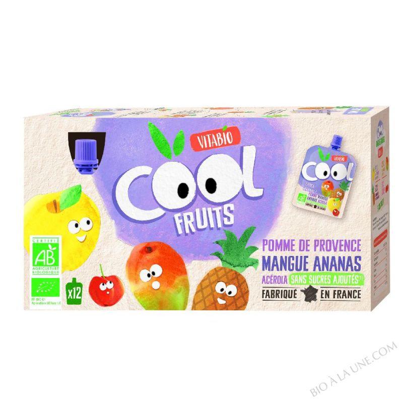 Lot de 12 Compotes Cool Fruits Pomme Mangue Ananas - 12x90g