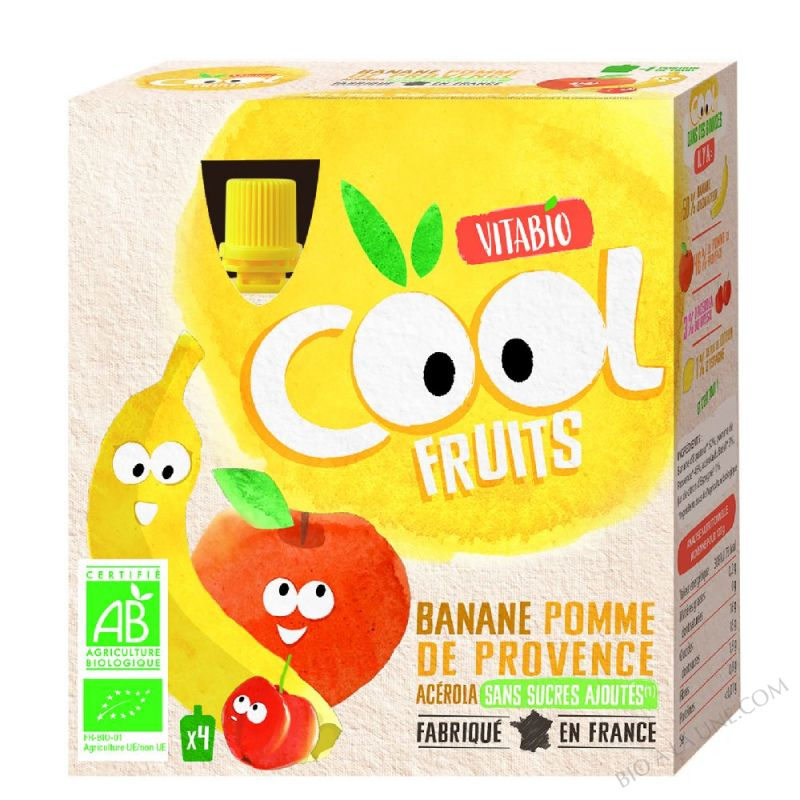 Compote Cool Fruits Pomme Banane 4x90g