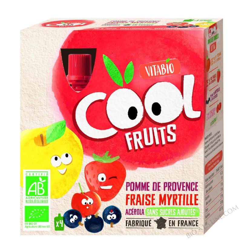 Compote Cool Fruits Pomme Fraise Myrtille 4x90g