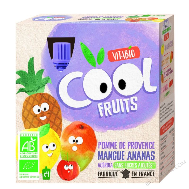 Compote Cool Fruits Pomme Mangue Ananas 4x90g