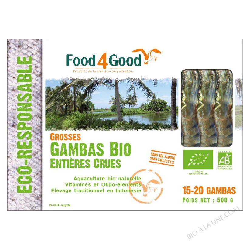 CREVETTES CRUES ENTIERES 500G FOOD4GOOD