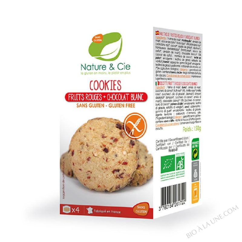 COOKIES FRUITS ROUGES ET CHOCOLAT BLANC - 150G NATURE & COMPAGNIE