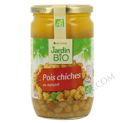 bocal en verre de pois chiches natures