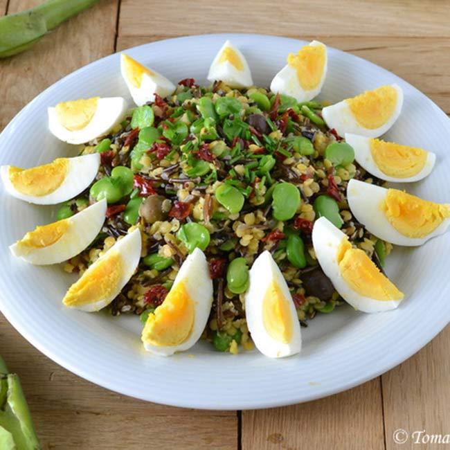 salade de riz sauvage lentilles corail et f ves tomate sans graines recette bio bio la une. Black Bedroom Furniture Sets. Home Design Ideas