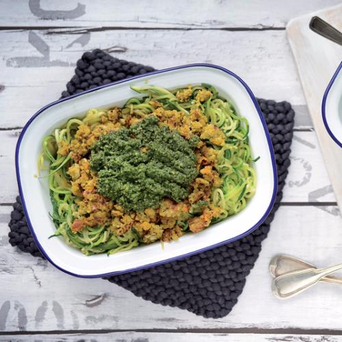 Spaghetti de courgette pesto coriandre recette bio bio - Comment cuisiner une courgette spaghetti ...